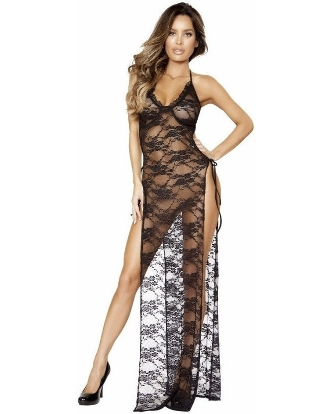 Lace Gown With Side Ties-Roma Costume-Exotic Angels Boutique