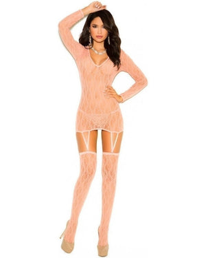 Peach Chemise And Matching Stockings-Elegant Moments-Exotic Angels Boutique