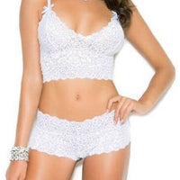 Plus Size Stretch Lace Cami and Boy Shorts-Elegant Moments-Exotic Angels Boutique