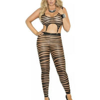 Plus Size Striped Opaque Bodystocking-Elegant Moments-Exotic Angels Boutique