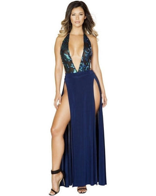 Sequin Romper And High Slit Maxi Skirt-Roma Costume-Exotic Angels Boutique