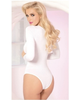 Strappy Long Sleeve Bodysuit-Pink Lipstick-Exotic Angels Boutique