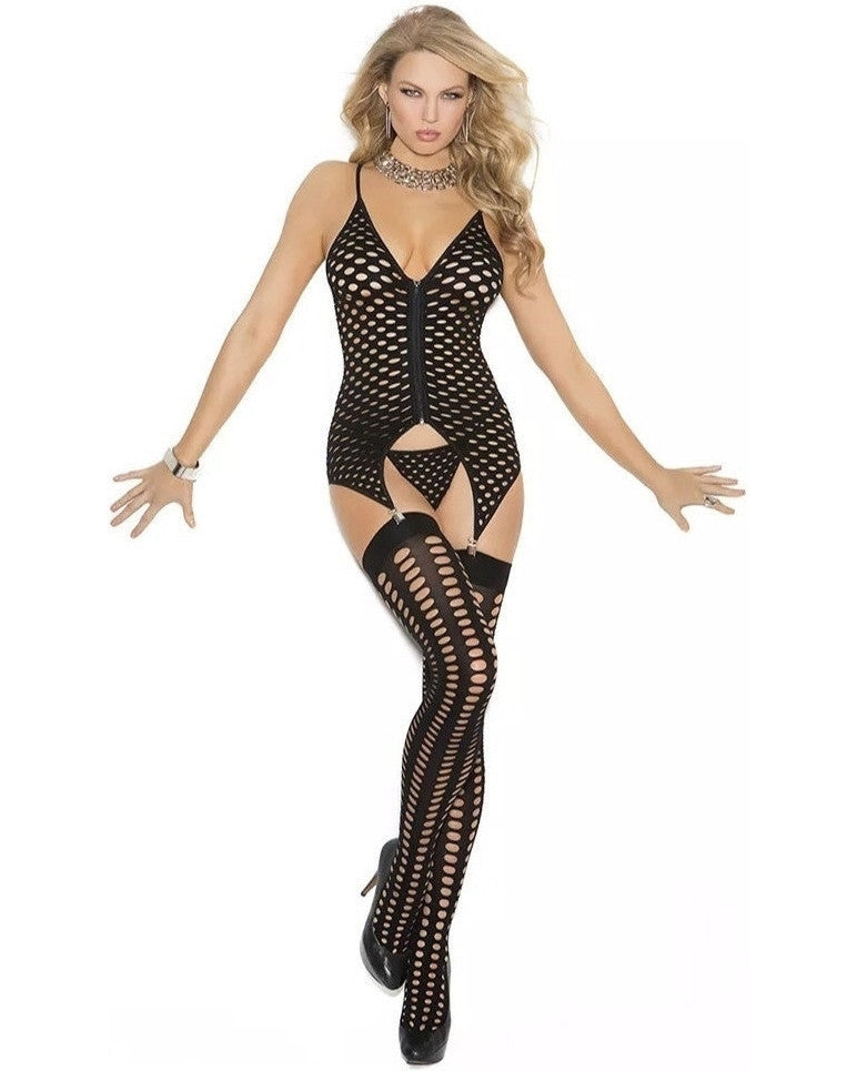 Three Piece Pothole Bodystocking With Stockings-Elegant Moments-Exotic Angels Boutique
