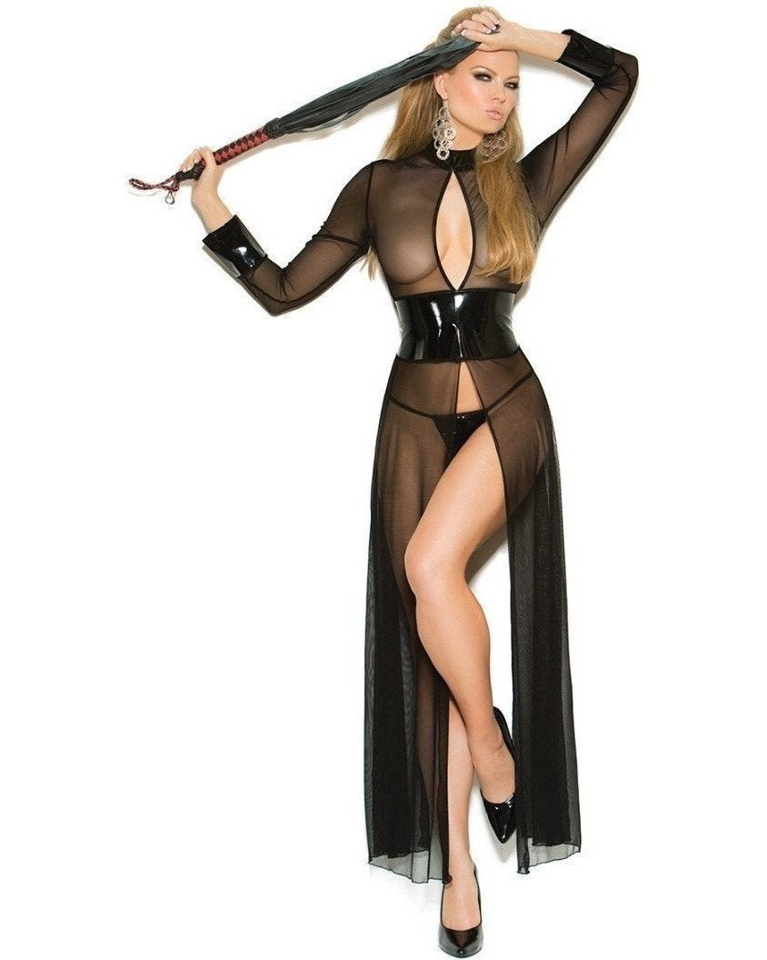 Vinyl And Mesh Open Gown With Matching G-String-Elegant Moments-Exotic Angels Boutique