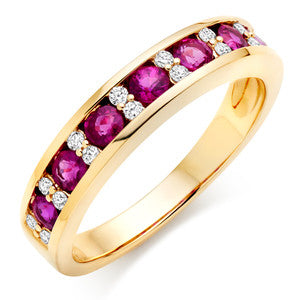 Ruby and Cubic Zirconia Wedding Ring In 1.50 Carat Total Weight.
