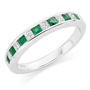 Emerald and Cubic Zirconia Wedding Ring In 1.00 Carat Total Weight.