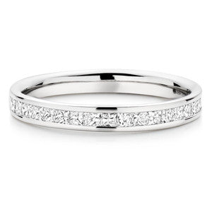 Princess Channel Setting Wedding Ring In 1.00 Carat Total Weight.