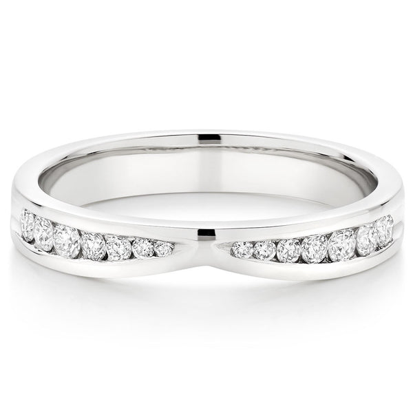 Choose in 14 Karat, 18 Karat or Platinum Diamond Shaped Wedding Ring