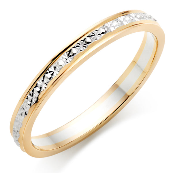 Choose in 14 Karat, 18 Karat or Platinum Bi-Colour Gold Sparkle Wedding Ring