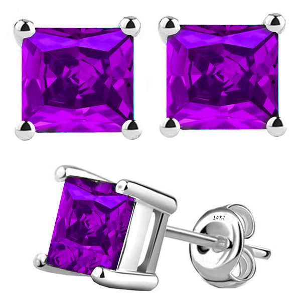 14 Karat White Gold Synthetic Amethyst 4-Prong Basket Princess Cut Push Back Stud Earrings. Available From .50 Carat To 4 Carat.
