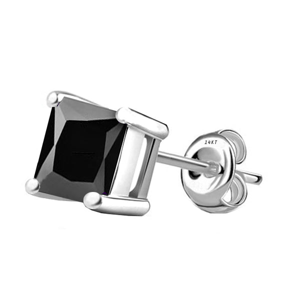 14 Karat White Gold Synthetic Black Onix 4-Prong Basket Princess Cut Push Back Stud Earrings. Available From .50 Carat To 4 Carat.