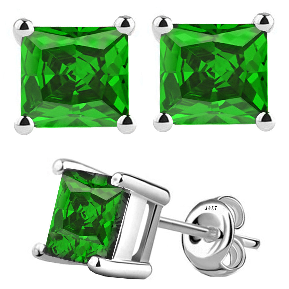 14 Karat White Gold Synthetic Emerald 4-Prong Basket Princess Cut Push Back Stud Earrings. Available From .50 Carat To 4 Carat.
