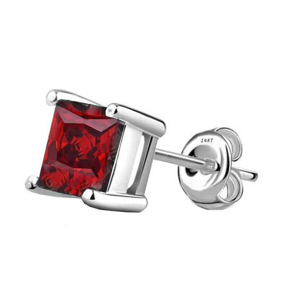 14 Karat White Gold Synthetic Garnet 4-Prong Basket Princess Cut Push Back Stud Earrings. Available From .50 Carat To 4 Carat.
