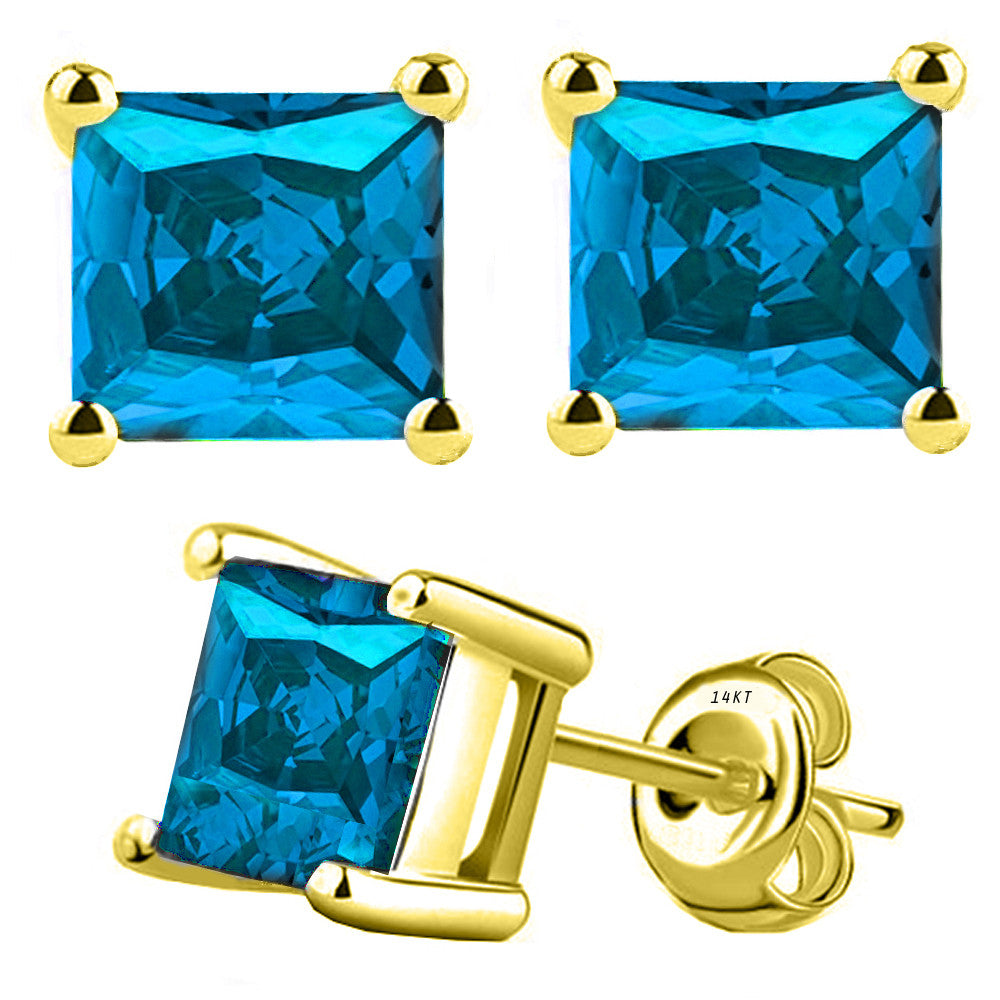 14 Karat Yellow Gold Synthetic Blue Topaz 4-Prong Basket Princess Cut Push Back Stud Earrings. Available From .50 Carat To 4 Carat.