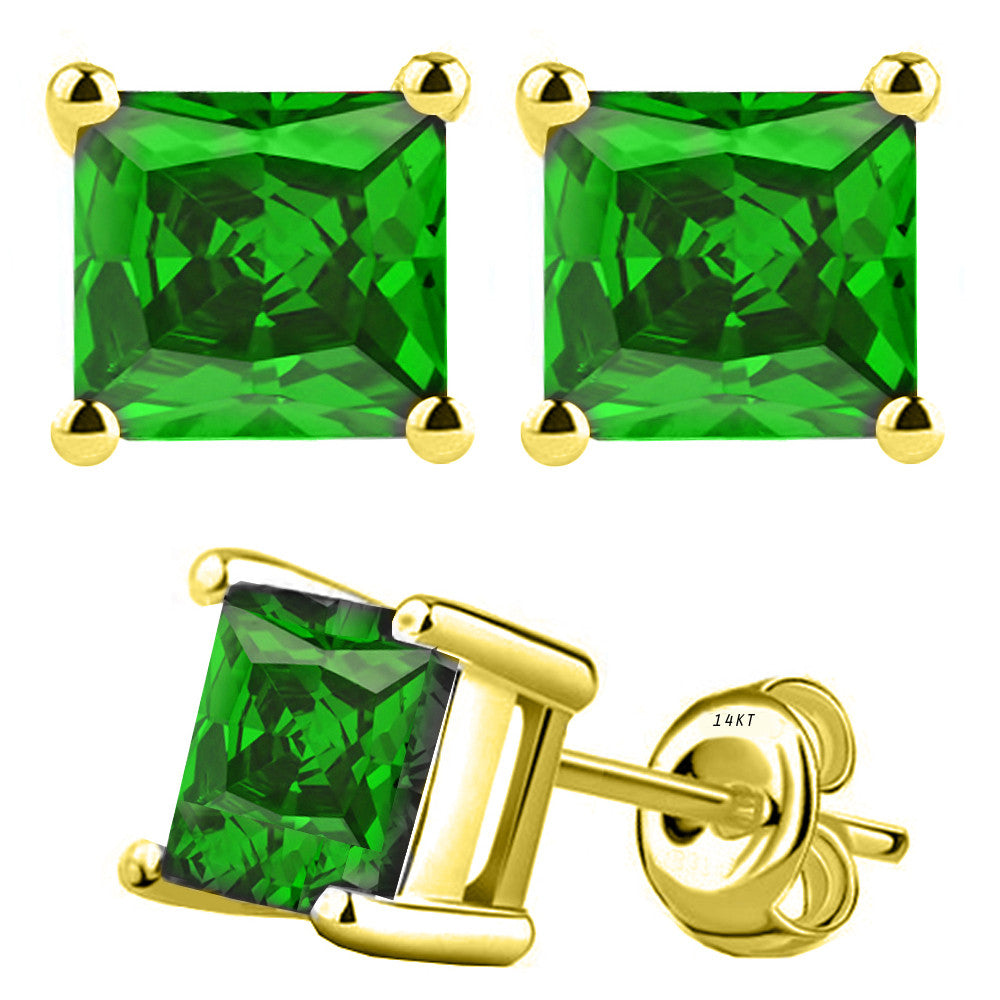 14 Karat Yellow Gold Synthetic Emerald 4-Prong Basket Princess Cut Push Back Stud Earrings. Available From .50 Carat To 4 Carat.