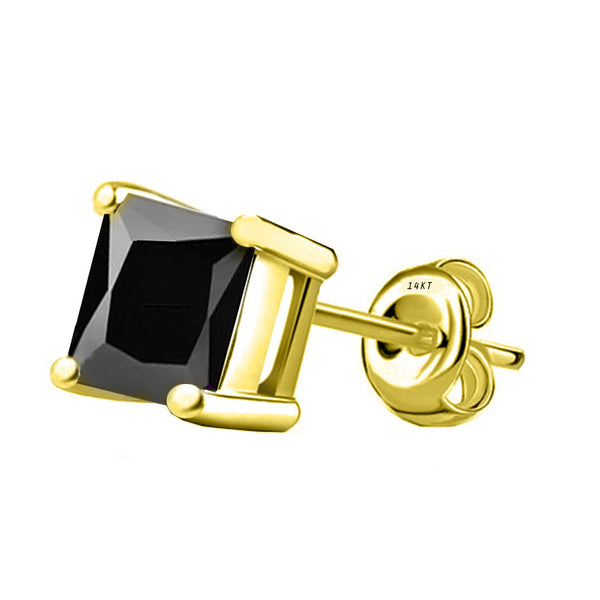 14 Karat Yellow Gold Synthetic Black Onix 4-Prong Basket Princess Cut Push Back Stud Earrings. Available From .50 Carat To 4 Carat.