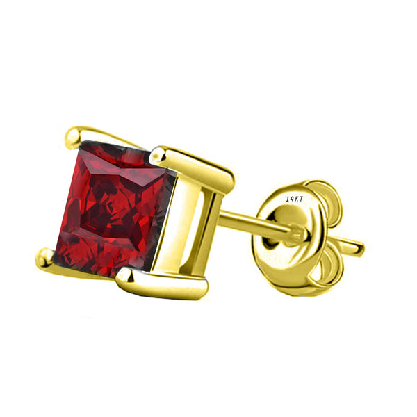 14 Karat Yellow Gold Synthetic Garnet 4-Prong Basket Princess Cut Push Back Stud Earrings. Available From .50 Carat To 4 Carat.