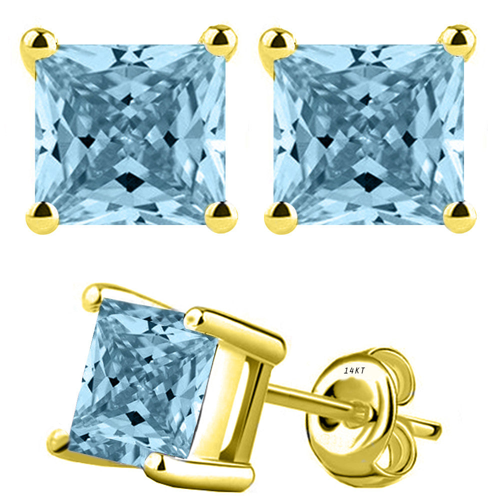 14 Karat Yellow Gold Synthetic Aquamarine 4-Prong Basket Princess Cut Push Back Stud Earrings. Available From .50 Carat To 4 Carat.
