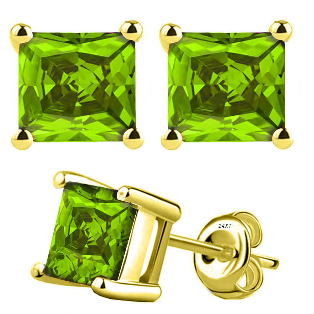 14 Karat Yellow Gold Synthetic Peridot 4-Prong Basket Princess Cut Push Back Stud Earrings. Available From .50 Carat To 4 Carat.