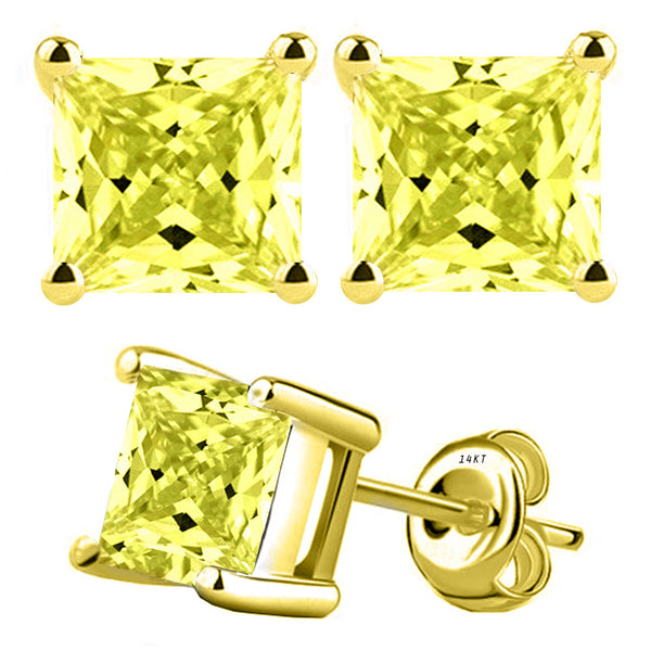 14 Karat Yellow Gold Synthetic Canary Stone 4-Prong Basket Princess Cut Push Back Stud Earrings. Available From .50 Carat To 4 Carat.