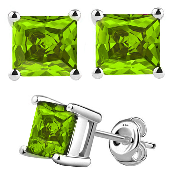 14 Karat White Gold Synthetic Peridot 4-Prong Basket Princess Cut Push Back Stud Earrings. Available From .50 Carat To 4 Carat.