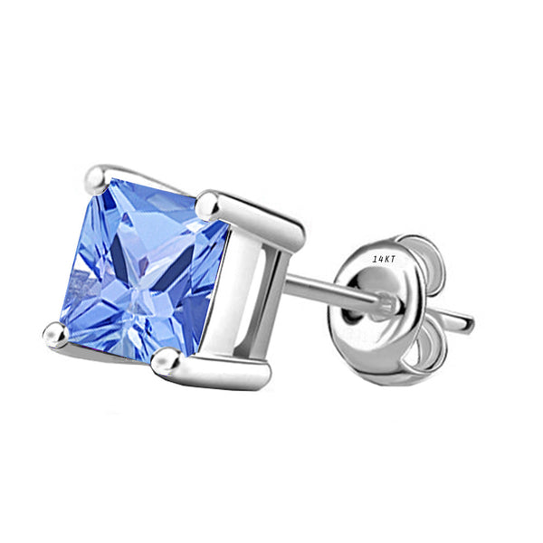 14 Karat White Gold Synthetic Tanzanite 4-Prong Basket Princess Cut Push Back Stud Earrings. Available From .50 Carat To 4 Carat.