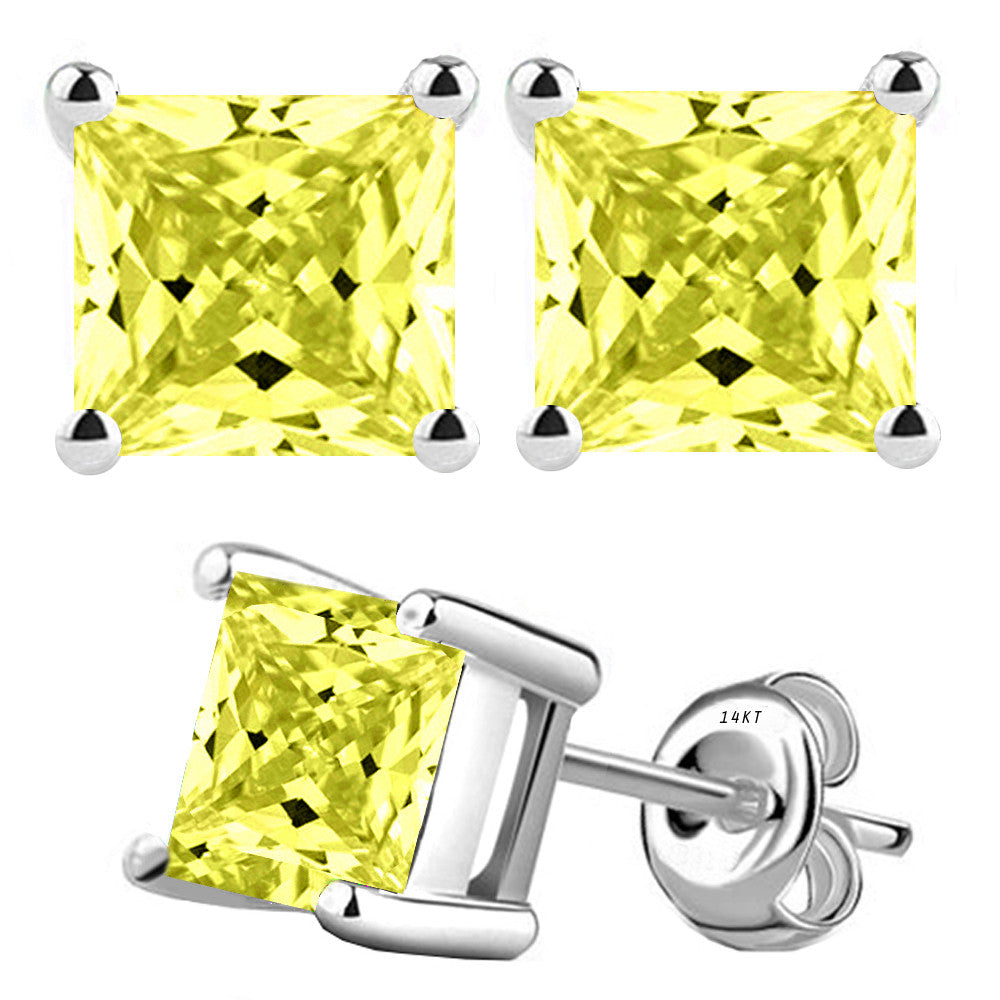 14 Karat White Gold Synthetic Canary 4-Prong Basket Princess Cut Push Back Stud Earrings. Available From .50 Carat To 4 Carat.