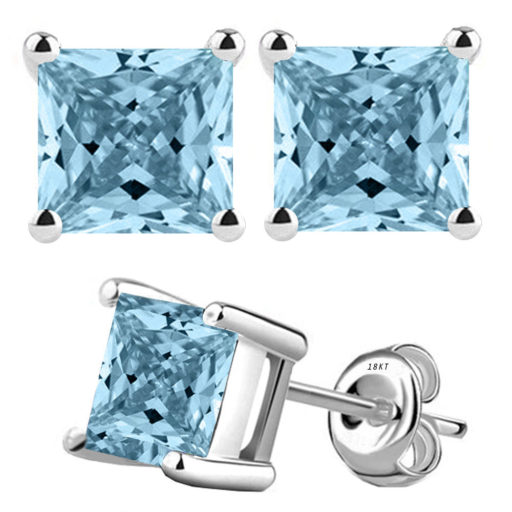 18 Karat White Gold Synthetic Aquamarine 4-Prong Basket Princess Cut Push Back Stud Earrings. Available From .50 Carat To 4 Carat.