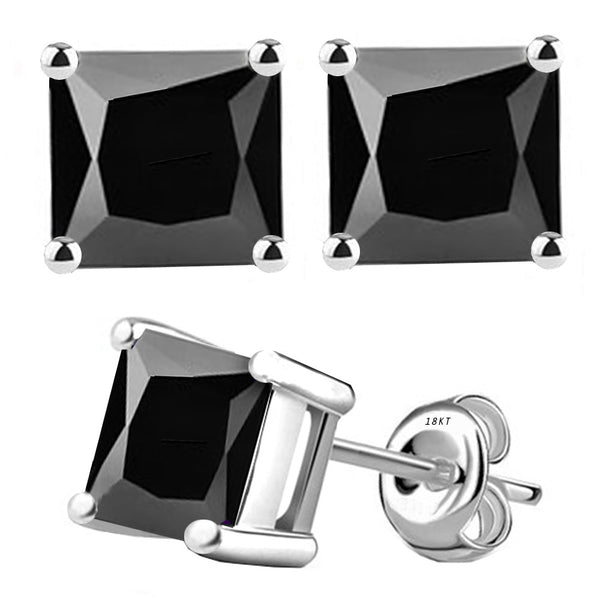 18 Karat White Gold Synthetic Black Onix 4-Prong Basket Princess Cut Push Back Stud Earrings. Available From .50 Carat To 4 Carat.
