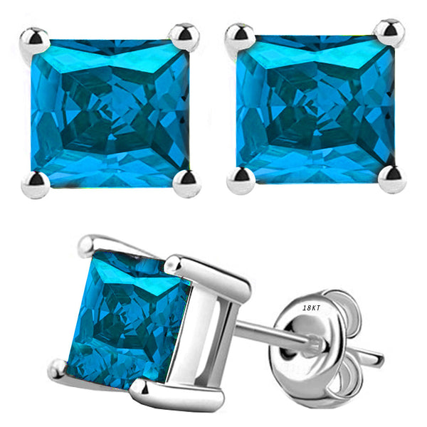 18 Karat White Gold Synthetic Blue Topaz 4-Prong Basket Princess Cut Push Back Stud Earrings. Available From .50 Carat To 4 Carat.