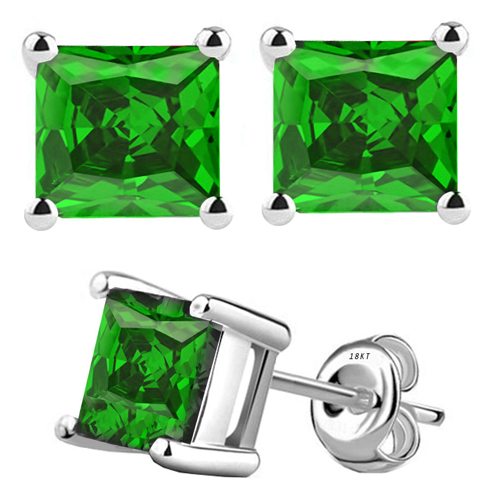 18 Karat White Gold Synthetic Emerald 4-Prong Basket Princess Cut Push Back Stud Earrings. Available From .50 Carat To 4 Carat.