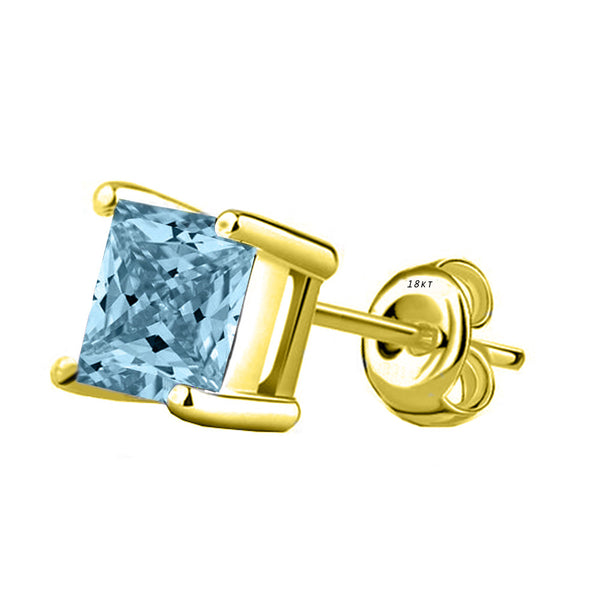18 Karat Yellow Gold Synthetic Aquamarine 4-Prong Basket Princess Cut Push Back Stud Earrings. Available From .50 Carat To 4 Carat.