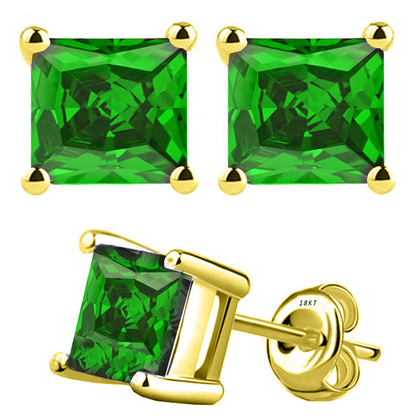 18 Karat Yellow Gold Synthetic Emerald 4-Prong Basket Princess Cut Push Back Stud Earrings. Available From .50 Carat To 4 Carat.