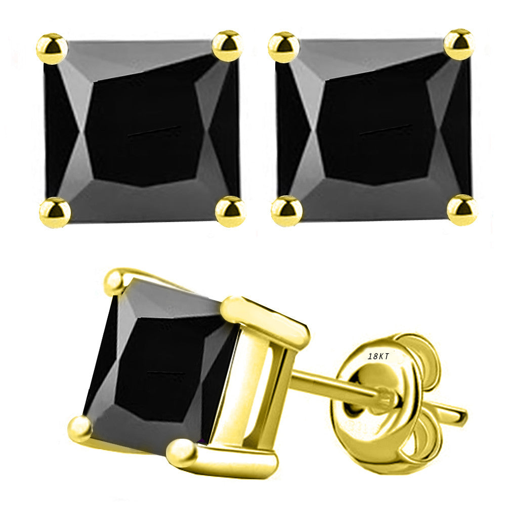 18 Karat Yellow Gold Synthetic Black Onix 4-Prong Basket Princess Cut Push Back Stud Earrings. Available From .50 Carat To 4 Carat.