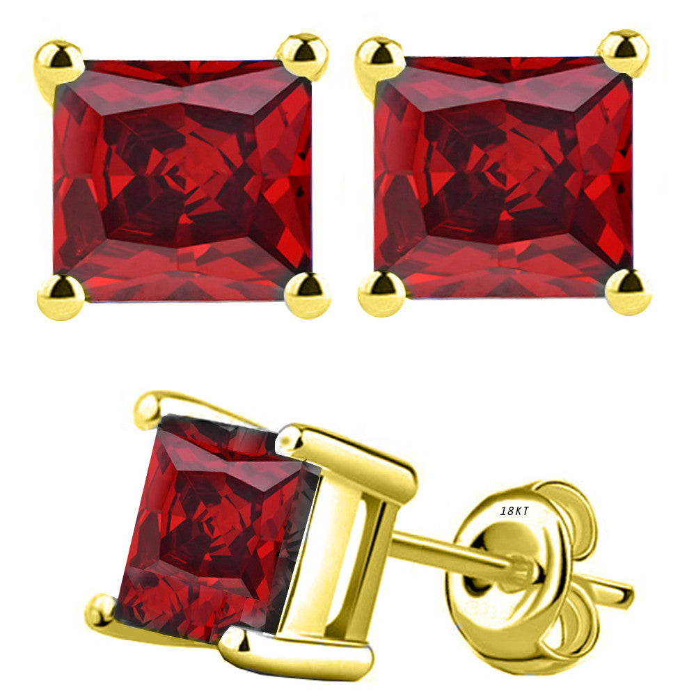18 Karat Yellow Gold Synthetic Garnet 4-Prong Basket Princess Cut Push Back Stud Earrings. Available From .50 Carat To 4 Carat.