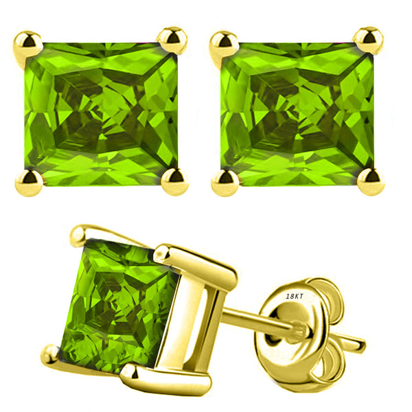 18 Karat Yellow Gold Synthetic Peridot 4-Prong Basket Princess Cut Push Back Stud Earrings. Available From .50 Carat To 4 Carat.