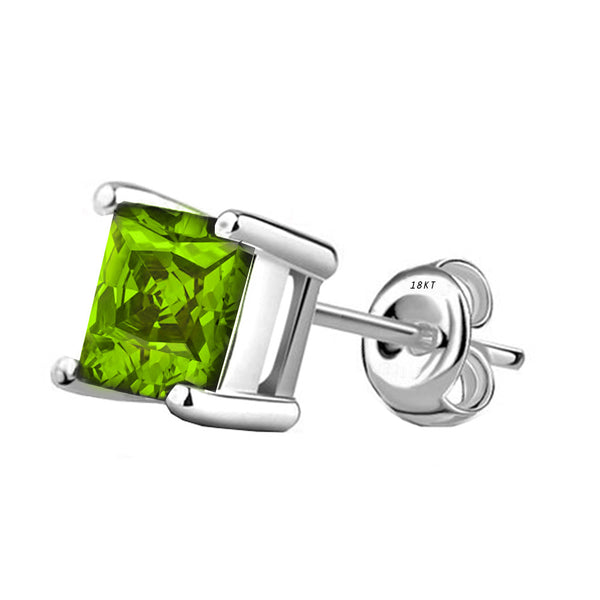 18 Karat White Gold Synthetic Peridot 4-Prong Basket Princess Cut Push Back Stud Earrings. Available From .50 Carat To 4 Carat.