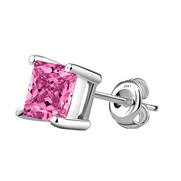 18 Karat White Gold Synthetic Pink Topaz 4-Prong Basket Princess Cut Push Back Stud Earrings. Available From .50 Carat To 4 Carat.