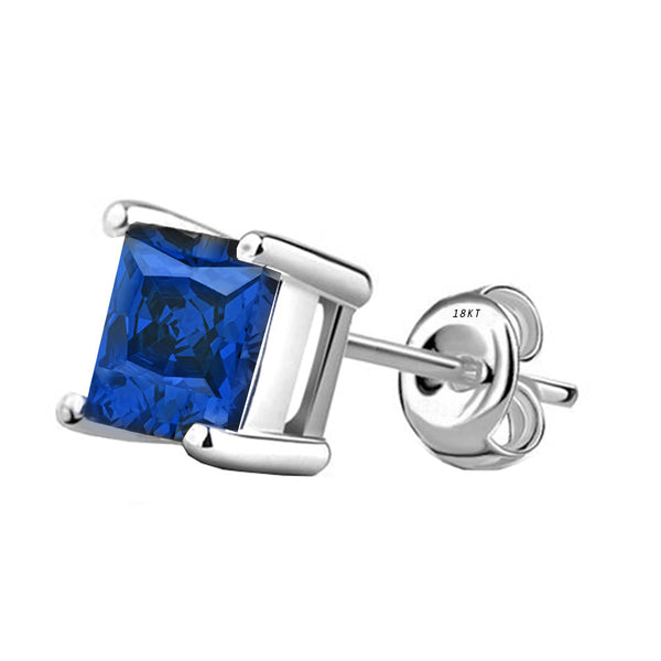 18 Karat White Gold Synthetic Saphire 4-Prong Basket Princess Cut Push Back Stud Earrings. Available From .50 Carat To 4 Carat.