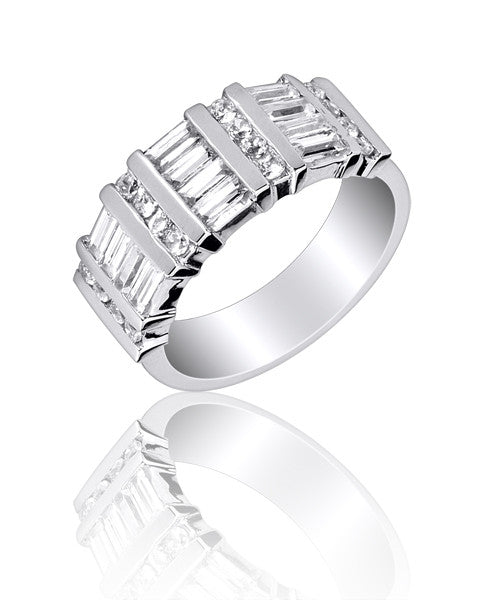 Channel Set Round And Baguette Wedding and Anniversary Ring