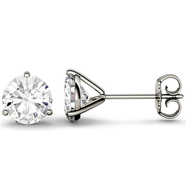 14 Karat or 18 Karat White Gold Three-Prong Round Stud Earrings With Plain Post Backing. Choose From 0.50 Carat To 10.00 Carat Total Weight.