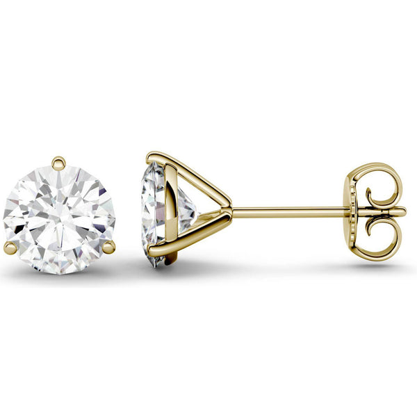 14 Karat or 18 Karat Yellow Gold Three-Prong Round Stud Earrings With Plain Post Backing. Choose From 0.50 Carat To 10.00 Carat Total Weight.