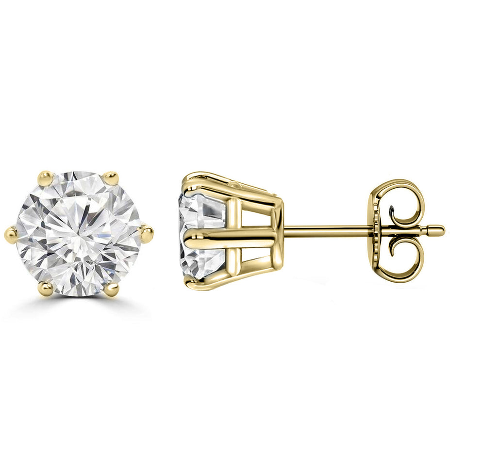 14 Karat or 18 Karat Yellow Gold Six Prong Round Stud Earrings With Plain Post Backing. Choose From 0.50 Carat To 10.00 Carat Total Weight.