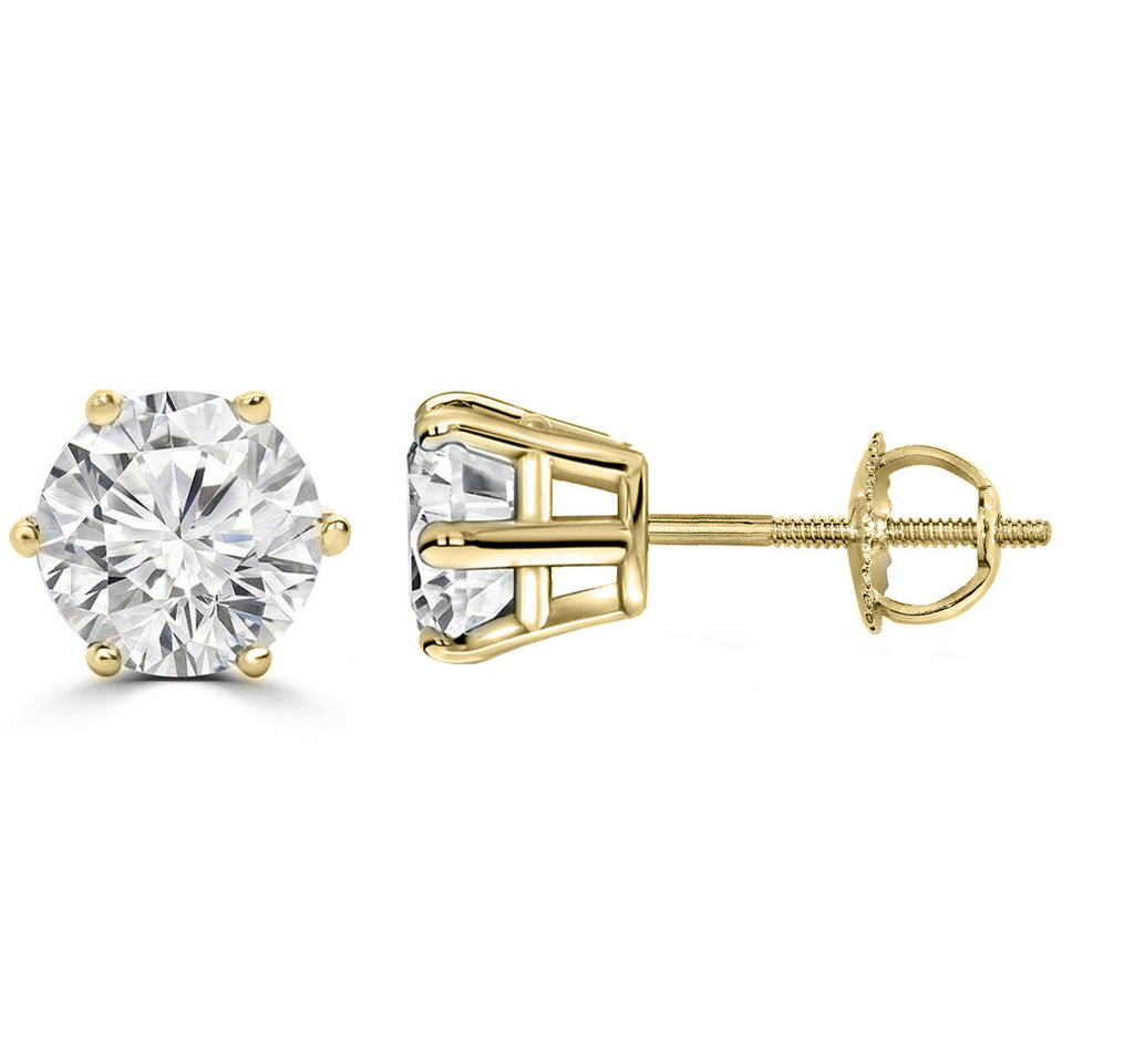 14 Karat or 18 Karat Yellow Gold Six Prong Round Stud Earrings With Screw Post Backing. Choose From 0.50 Carat To 10.00 Carat Total Weight.