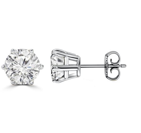 14 Karat or 18 Karat White Gold Six Prong Round Stud Earrings With Plain Post Backing. Choose From 0.50 Carat To 10.00 Carat Total Weight.