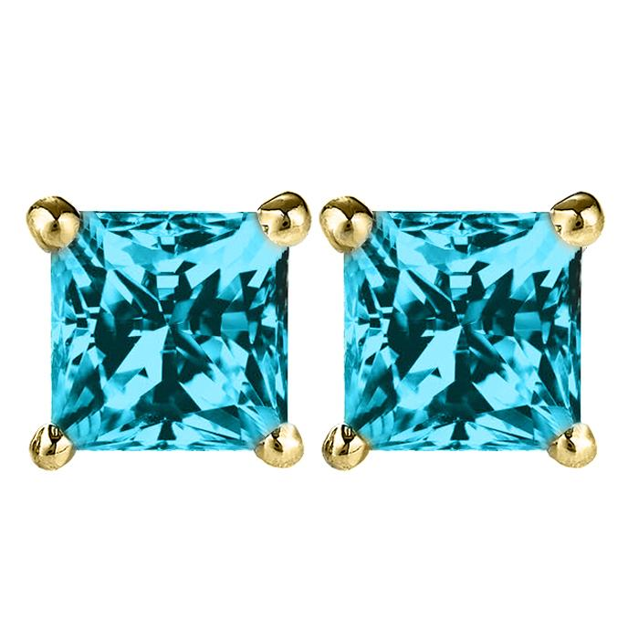 14 KARAT YELLOW GOLD AQUAMARINE PRINCESS. Choose From 0.25 CTW To 10.00 CTW