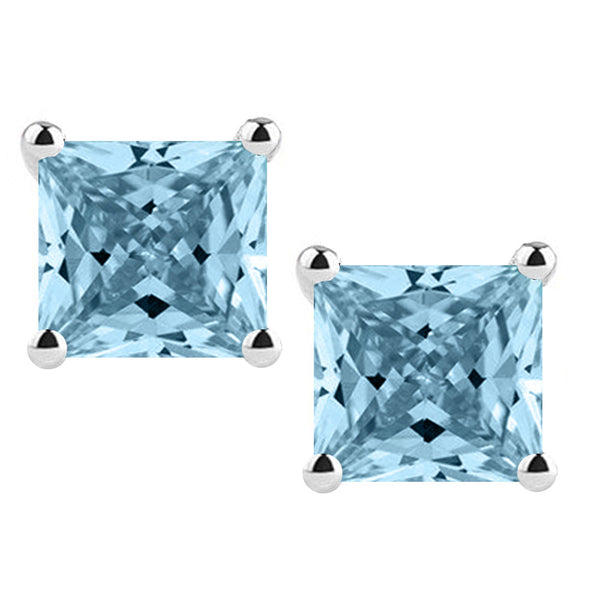 14 Karat White Gold Synthetic Aquamarine 4-Prong Basket Princess Cut Push Back Stud Earrings. Available From .50 Carat To 4 Carat.