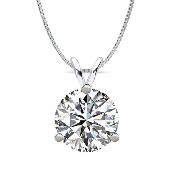 14 KARAT WHITE GOLD 3-PRONG ROUND PENDANT WITH BOX CHAIN. BUILD YOUR OWN PENDANT.