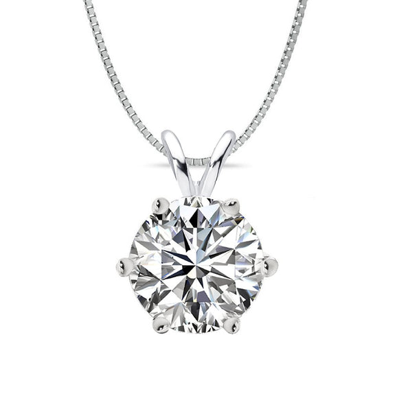 14 KARAT WHITE GOLD 6-PRONG ROUND PENDANT WITH BOX CHAIN. BUILD YOUR OWN PENDANT.