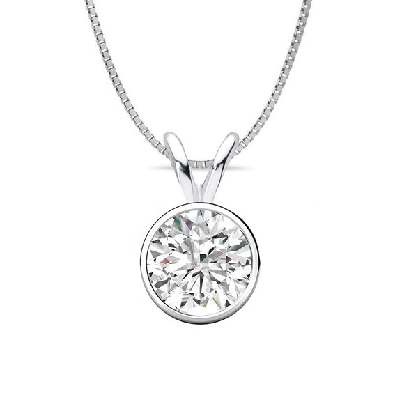 14 KARAT WHITE GOLD ROUND BEZEL PENDANT WITH BOX CHAIN. BUILD YOUR OWN PENDANT.